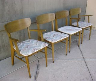Set Of Four Vintage Mid Century Modern Danish Gold/tan Chairs Fabric Cushions photo