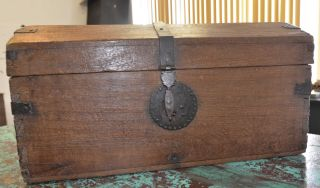Antique Spanish Colonial Wooden Chest 1770 ' S photo