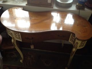French Style Kidney Shaped Inlaid Desk Table Vintage photo
