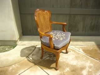 Vintage Cane Accent Arm Chair Made In Italy Carved French Provincial Needlepoint photo