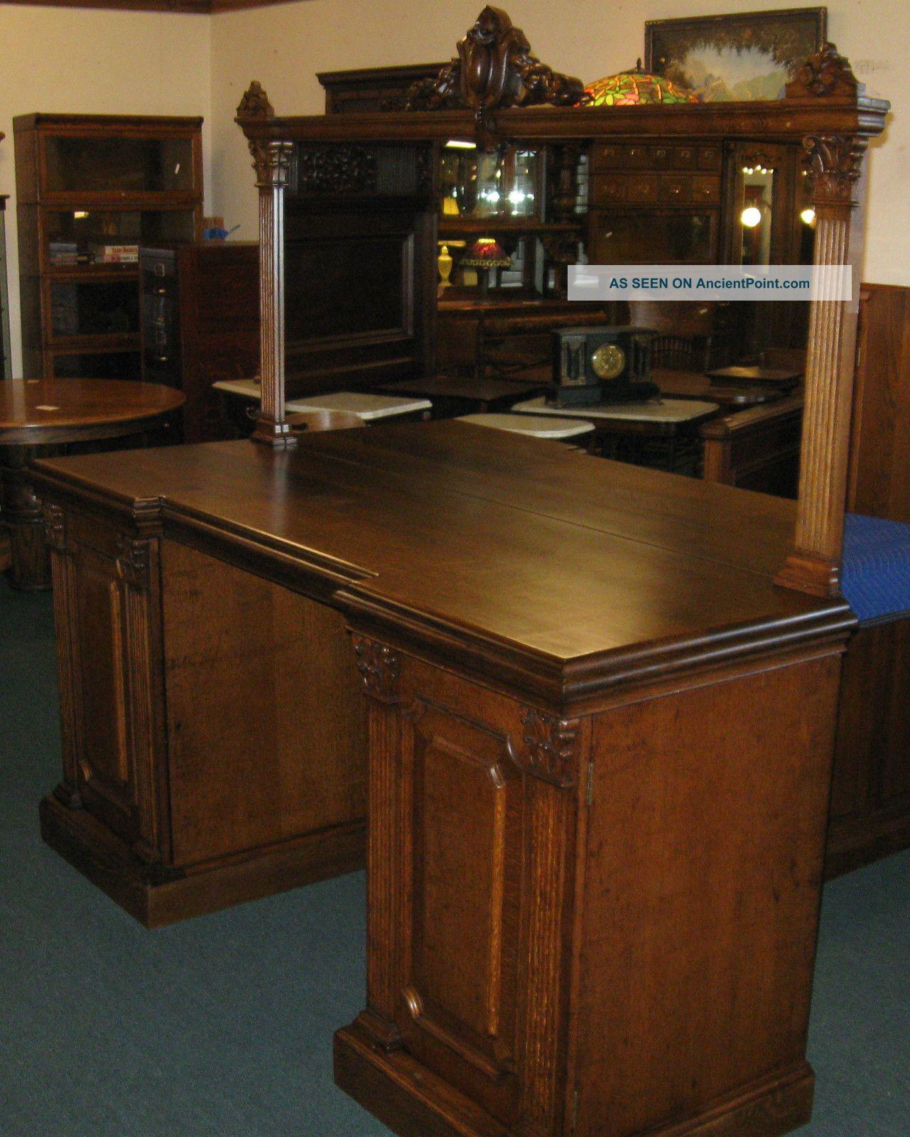 Antique Quartersawed Oak Back Back Bar 1900-1950 photo
