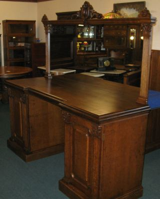 Antique Quartersawed Oak Back Back Bar photo