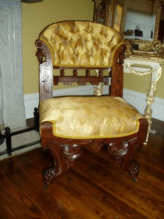Fabulous Antique Victorian Ornately Carved Parlor Chair photo