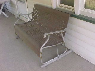 Art Deco Porch Glider Basket Weave Pattern Metal And Aluminum photo