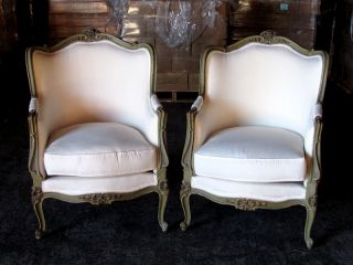 19th C.  Pair Of French Louis Xv Painted Dark Green Olive Bergere Chairs photo