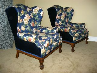 Pair Vintage Wingback Chairs Blue Velvet Upholstery Unique French Provincial photo