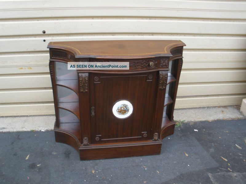 48324 Antique Mahogany Buffet Server Cabinet Quality 1900-1950 photo