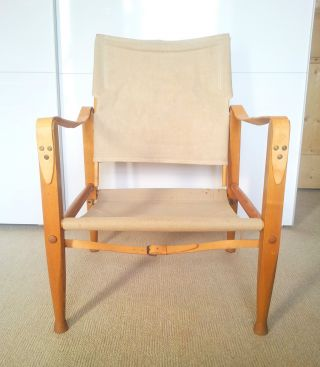 1960s Retro Oak Danish Safari Chair Kaare Klint Rud Rasmussen Wegner photo