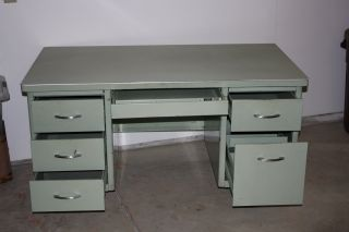 Vintage Haskell Of Pittsburgh Steel Desk photo