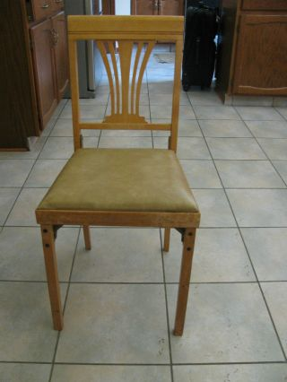 Vintage All Wood Foldable Chair With Cushion photo