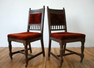 Antique Victorian Chair Dining Carved Walnut photo