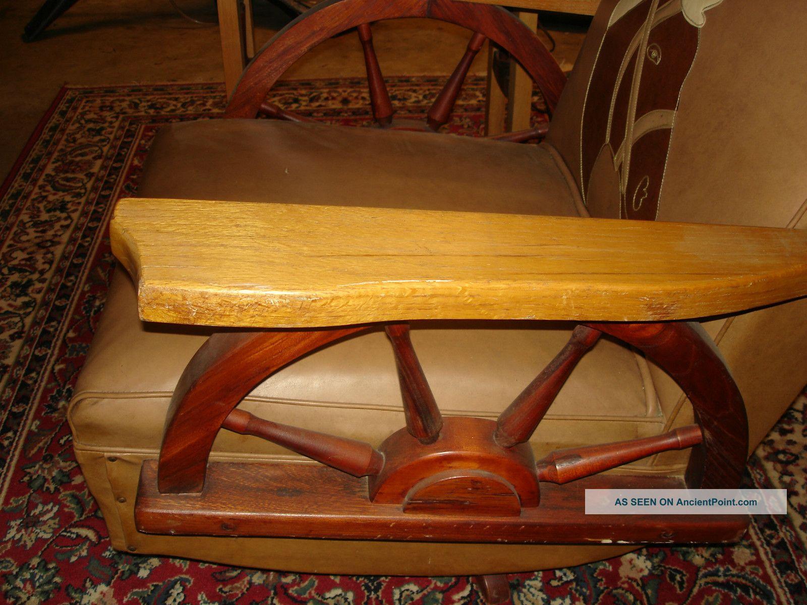 Cowboy Western Wagon Wheel Rocking Chair W/ Horse Head + Matching End Table