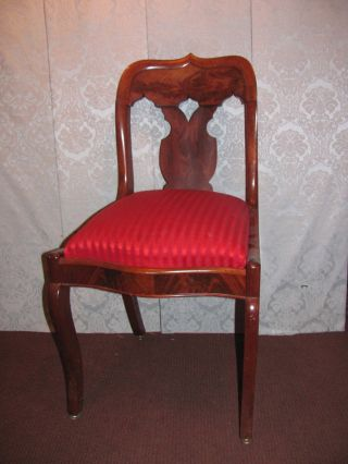 Set 6 Antique American Mahogany Federal Dining Chairs Circa 1825 photo