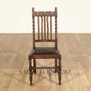 Antique Solid Oak Jacobean Barley Twist Faux Leather Side Chair C1920 P63a photo