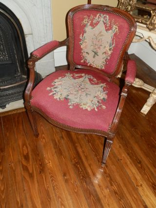 Spectacular One Of A Kind Antique Victorian Needlepoint Parlour Chair photo