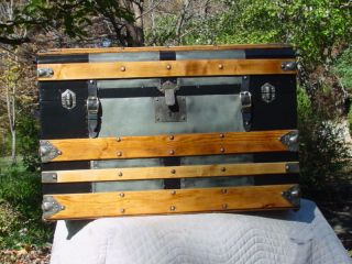 Mm Secour Antique Trunk Great Interior Circa 1872 Restored photo