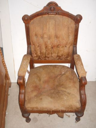 Antique 1800s Walnut Burl Eastlake Parlor Side Chair Tufted Victorian Furniture photo