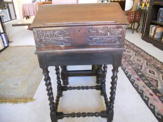 Oak Antique Carved Bible Stand/box Circa 1875 photo