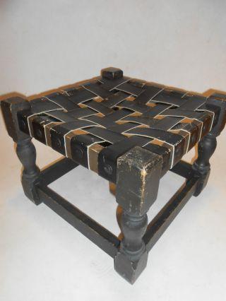Vtg 60 ' S Leather & Dark Wood Stool Bench Mexico Monterrey Gothic Mission Look photo