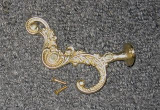 Cast Brass Victorian Front Mount Coat Hat Hook B0904 photo