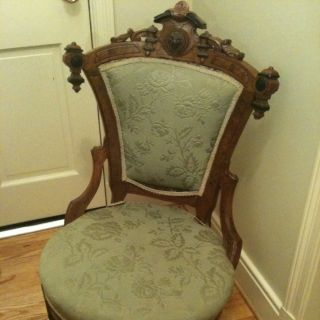 Antique Solid Mohagony Renaissance Ornate Ladys Hip Chair Ship Conus photo