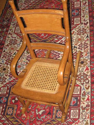 Antique Oak And Bentwood Cained Bottom Childs Large Dolls Rocking Chair photo