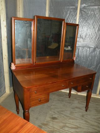 Antique Refinished Mahogany Bedroom Vanity Or Desk photo