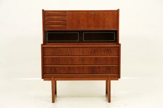 Teak Slide Out Bureau Desk photo