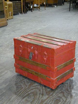 Antique Flat Top Oak Wood Slat Steamer Trunk Chest With Inserts Painted Red photo