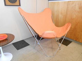 1980 ' S Butterfly Lounge Chair Retro Mid - Century Mordern Orange Canvas Sling photo