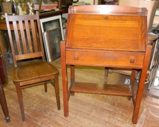 Antique 1920s Arts & Crafts Mission Oak Writing Desk & Chair Heywood Wakefield photo