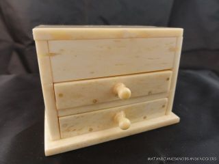 Hand Carved Bone Scrimshaw Miniature Chest Of Drawers Sailor Chest Box photo