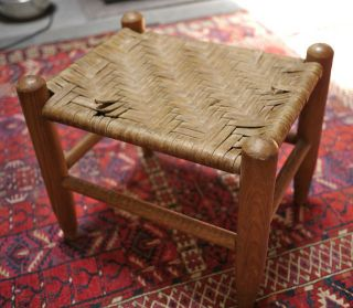Vintage Antique Handmade Woven Oak Wood Wooden Foot Stool Small Bench photo