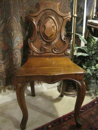 Antique English Oak Victorian Side Hall Chair Carved Rare Piece Petite Old photo
