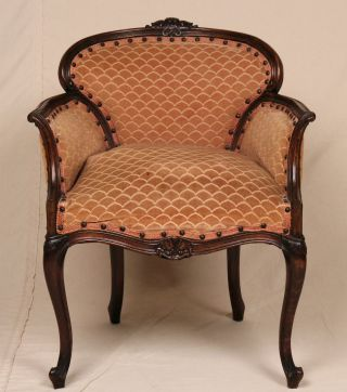Petite Louis Xv Style French Antique Velvet Carved Vanity Bench Stool Arm Chair photo