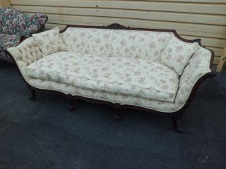 50717 Antique Carved Sofa Couch Chair With French Country Legs And Down Seat photo