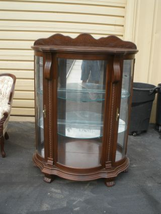 Philip Reinisch Bowed Glass Mahogany Lighted Curio China Cabinet Photo