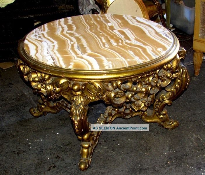 Ornate Large Circular Rococo Alabaster Marble Salon Coffee Table