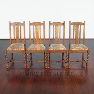 Antique English Solid Oak Jacobean Dining Side Chairs Set (4) C1920's P04 photo