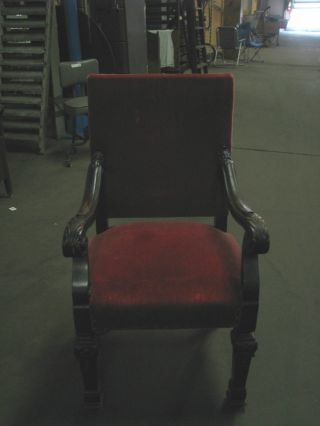 Vintage/antique Parlor Type Chair Red In Color With Hardwood photo
