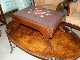 Antique Needlepoint Stool With Carved Detail And Curved Legs photo