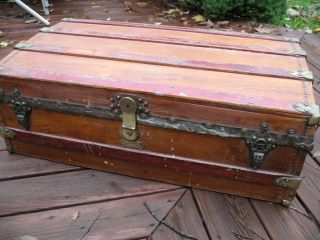 Antique Victorian Crouch & Fitzgerald Steamer Chest Trunk Solid Brass Hardware photo