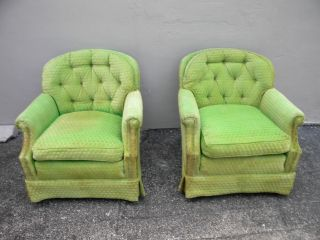 Pair Of Mid - Century Tufted Side By Side Chairs 2196 photo