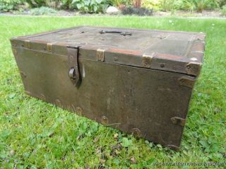 Antique Colonial Indian Dowry Box Metal Brass Bound Box Chest Marriage photo