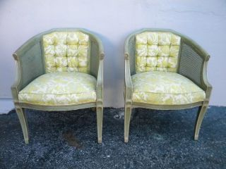 Pair Of Mid - Century Barrel Shape Caned Tufted Side By Side Chairs 2058 photo