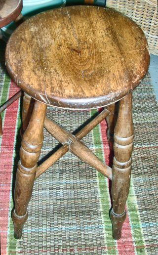 Antique 19th Century American Federal Wood Windsor Stool Bench Chair Side Table photo