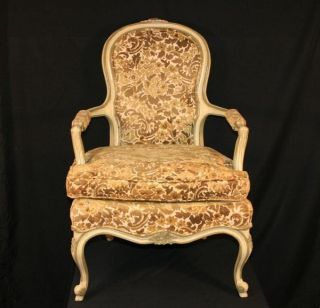 Vintage French Style Paint Decorated Carved Bergere Upholstered Open Arm Chair photo