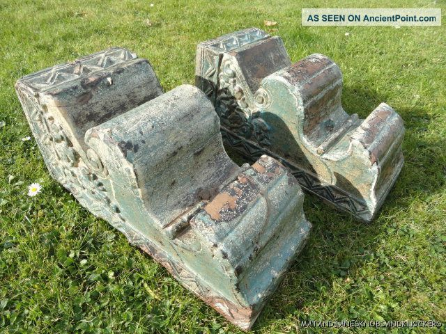 Pair Of Huge Antique Wooden Corbel Sconce Column Top Distressed Paint Hooks & Brackets photo