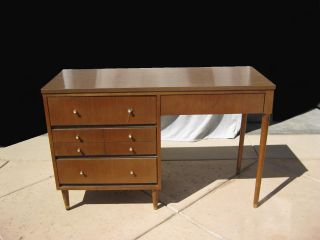 Vintage Danish Style Writing Desk W Peg Legs Computer Desk photo