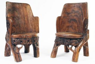 African Arm Chairs Hand Carved Art In Furniture photo